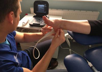 ultrasound being peformed